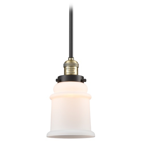 Innovations Lighting Innovations Lighting Canton Black Antique Brass Mini-Pendant Light with Bell Shade 201S-BAB-G181