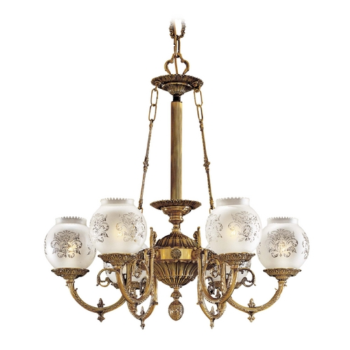 Metropolitan Lighting Chandelier with White Glass in Antique Classic Brass Finish N801906