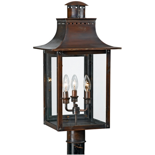 Quoizel Lighting Post Light with Clear Glass in Aged Copper Finish CM9012AC