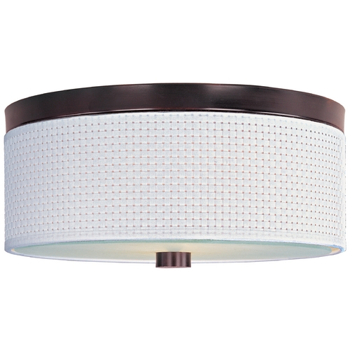 ET2 Lighting Modern Flushmount Light with White Shades in Oil Rubbed Bronze Finish E95102-100OI