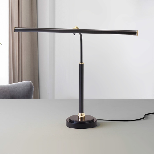 House of Troy Lighting Modern LED Piano / Banker Lamp in Black & Brass Finish PLED100-617