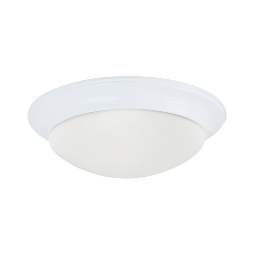 Sea Gull Lighting Flushmount Light with White Glass in White Finish 79435BLE-15