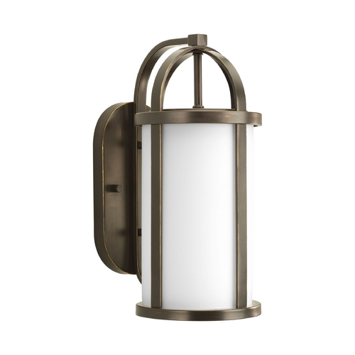 Progress Lighting Progress Outdoor Wall Light with White Glass in Antique Bronze Finish P5719-20