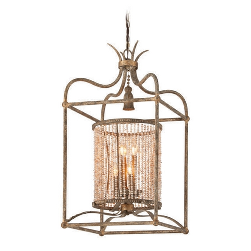 Troy Lighting Troy Lighting Madame Bardot Parisian Bronze with Gold Leaf and Wood Accents Pendant Light F4046