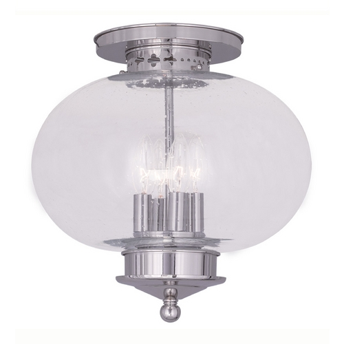 Livex Lighting Livex Lighting Harbor Polished Nickel Close To Ceiling Light 5038-35