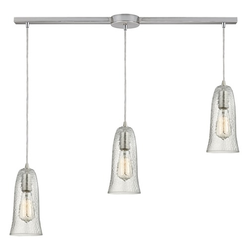 Elk Lighting Elk Lighting Hammered Glass Satin Nickel Multi-Light Pendant with Bell Shade 10431/3L-CLR