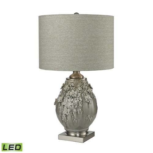 Dimond Lighting Dimond Lighting Grey Glaze, Brushed Steel LED Table Lamp with Drum Shade D2609-LED