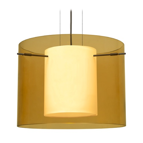 Besa Lighting Besa Lighting Pahu Bronze LED Pendant Light with Drum Shade 1KG-G00707-LED-BR