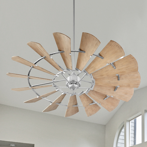 Quorum Lighting Quorum Lighting Windmill Galvanized Ceiling Fan Without Light Damp Rated 197215-9