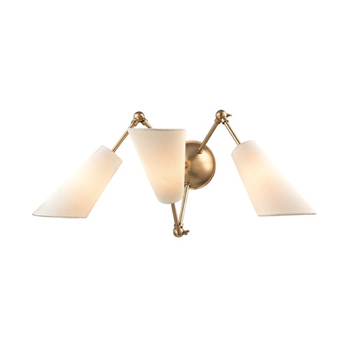 Hudson Valley Lighting Mid-Century Modern Brass Sconce 3-Lt Adjustable Arms by Hudson Valley 5300-AGB