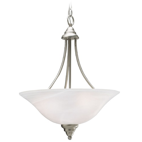 Kichler Lighting Kichler Pendant Light with White Glass in Brushed Nickel Finish 3277NI