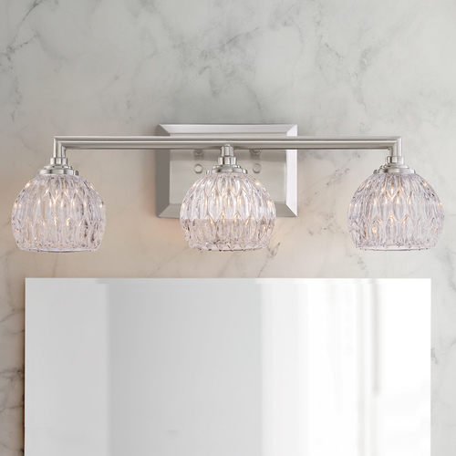 Quoizel Lighting Quoizel Serena Brushed Nickel 3-Light Bathroom Light with Clear Glass Shades PCSA8603BN