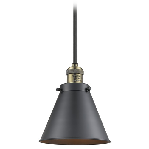 Innovations Lighting Innovations Lighting Appalachian Black Antique Brass Mini-Pendant Light with Conical Shade 201S-BAB-M13-BK