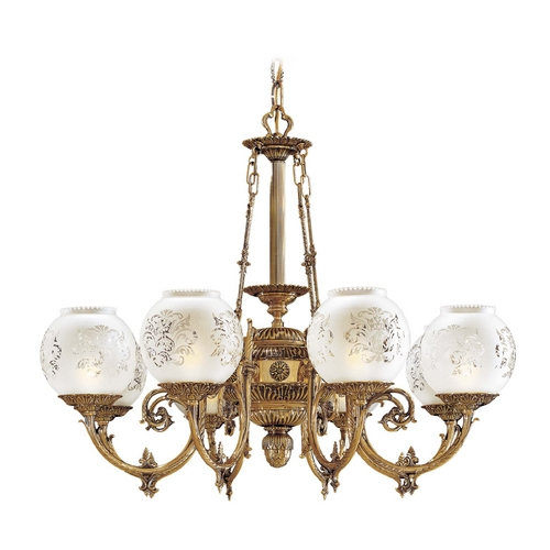 Metropolitan Lighting Chandelier with White Glass in Antique Classic Brass Finish N801908