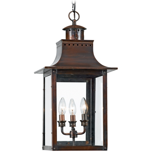 Quoizel Lighting Outdoor Hanging Light with Clear Glass in Aged Copper Finish CM1912AC