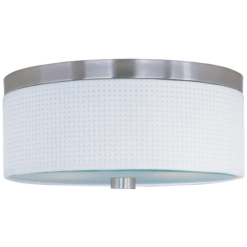 ET2 Lighting Modern Flushmount Light with White Shades in Satin Nickel Finish E95102-100SN