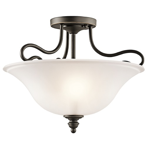 Kichler Lighting Kichler Semi-Flushmount Light with White Glass in Olde Bronze Finish 42900OZ