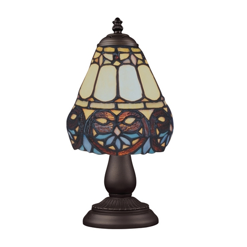 Elk Lighting Table Lamp with Tiffany Glass in Bronze Finish 080-TB-21