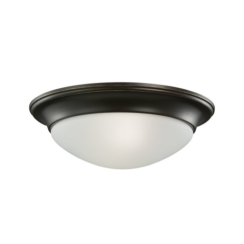 Sea Gull Lighting Flushmount Light with White Glass in Heirloom Bronze Finish 79435BLE-782