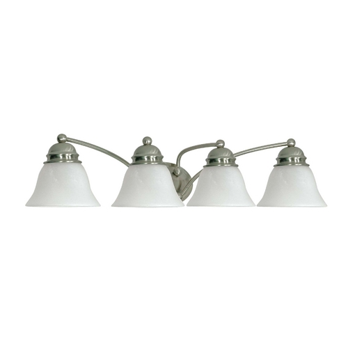 Nuvo Lighting Bathroom Light with Alabaster Glass in Brushed Nickel Finish 60/343