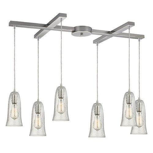 Elk Lighting Elk Lighting Hammered Glass Satin Nickel Multi-Light Pendant with Bell Shade 10431/6CLR