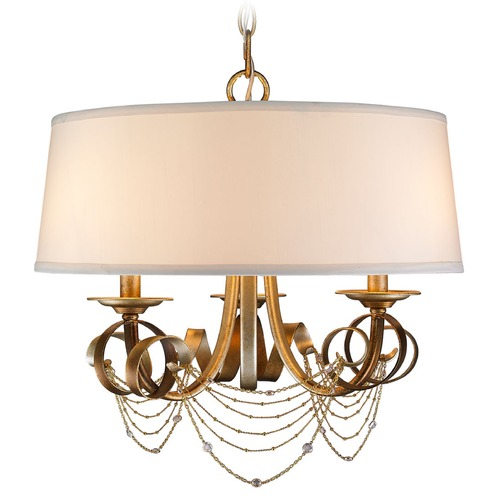Golden Lighting Golden Lighting Gwendolyn Golden Radiance Pendant Light with Drum Shade 2314-3P GR