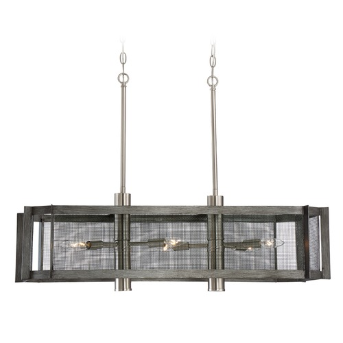 Designers Fountain Lighting Designers Fountain Baxter Weathered Iron Island Light with Oval Shade 89338-WI