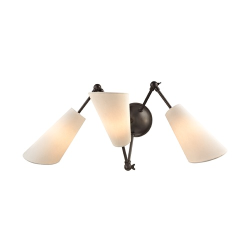 Hudson Valley Lighting Mid-Century Modern Bronze Sconce 3-Lt Adjustable Arms by Hudson Valley 5300-OB