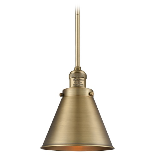 Innovations Lighting Innovations Lighting Appalachian Brushed Brass Mini-Pendant Light with Conical Shade 201S-BB-M13-BB