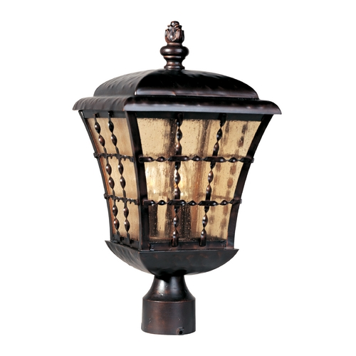 Maxim Lighting Post Light with Amber Glass in Oil Rubbed Bronze Finish 30490ASOI