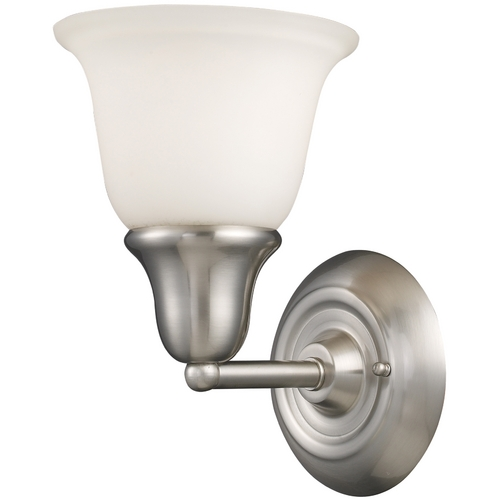 Elk Lighting Sconce with White Glass in Brushed Nickel Finish 67020-1