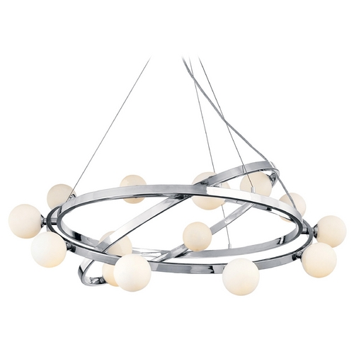 Access Lighting Modern Chandelier with White Glass in Chrome Finish 23980-CH/OPL