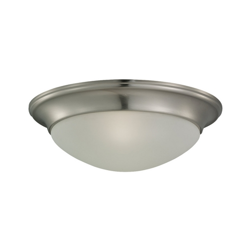 Sea Gull Lighting Flushmount Light with White Glass in Brushed Nickel Finish 79435BLE-962