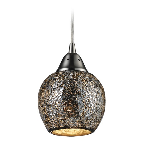 Elk Lighting Elk Lighting Fission Satin Nickel LED Mini-Pendant Light with Bowl / Dome Shade 10208/1SLV-LED