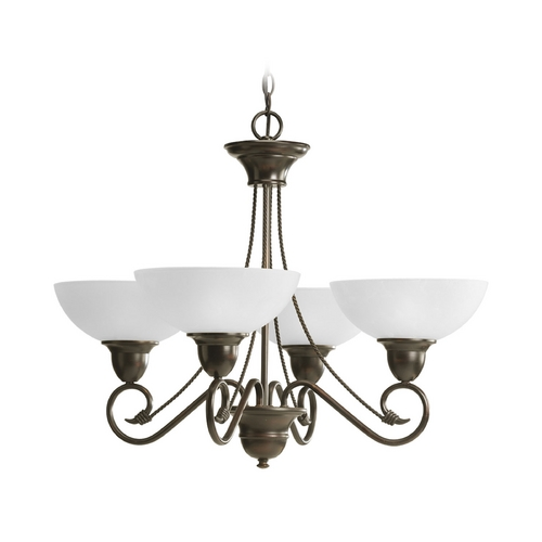 Progress Lighting Progress Chandelier with White Glass in Antique Bronze Finish P4592-20