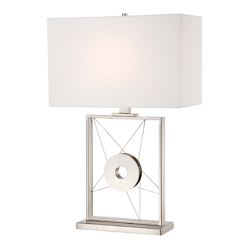 George Kovacs Lighting Modern Table Lamp with White Shade in Polished Nickel Finish P768-613
