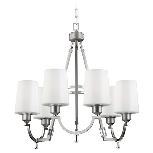 Feiss Lighting Feiss Lighting Preakness Satin Nickel / Polished Nickel Chandelier F3008/6SN/PN