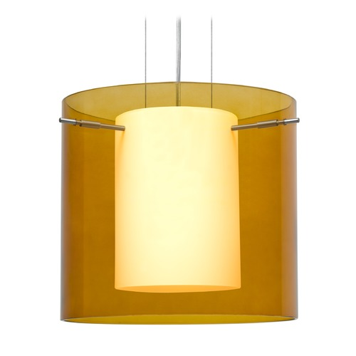 Besa Lighting Besa Lighting Pahu Satin Nickel LED Pendant Light with Drum Shade 1KG-G18407-LED-SN