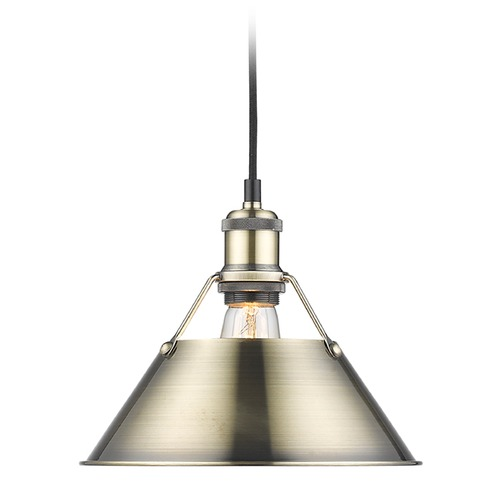 Golden Lighting Golden Lighting Orwell Ab Aged Brass Mini-Pendant Light with Conical Shade 3306-M AB-AB