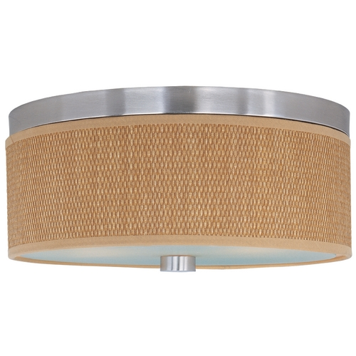 ET2 Lighting Modern Flushmount Light with Brown Shades in Satin Nickel Finish E95102-101SN