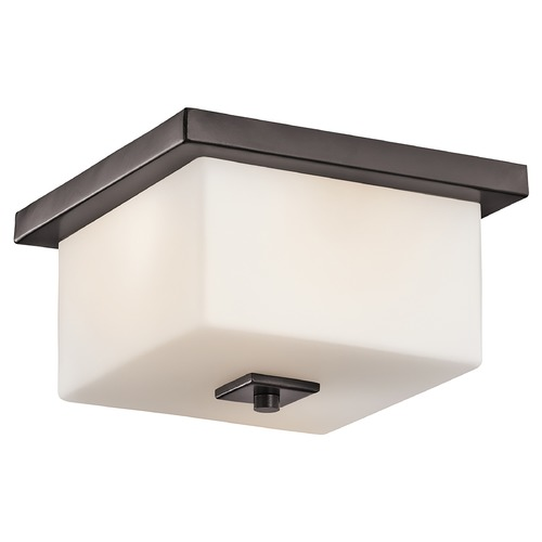 Kichler Lighting Kichler Outdoor Ceiling Light with White Glass in Bronze Finish 49343AZ