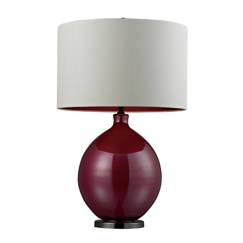 Dimond Lighting Table Lamp with Pink Glass Base and White Drum Shade D268