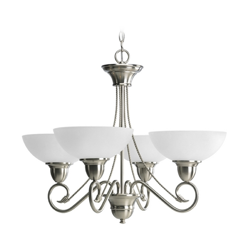 Progress Lighting Progress Chandelier with White Glass in Brushed Nickel Finish P4592-09