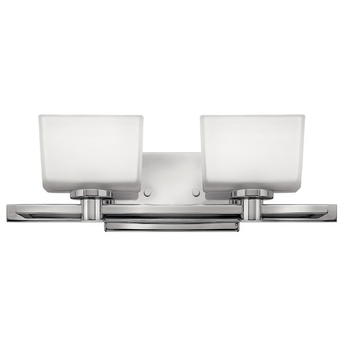 Hinkley Lighting Bathroom Light with White Glass in Chrome Finish 5022CM