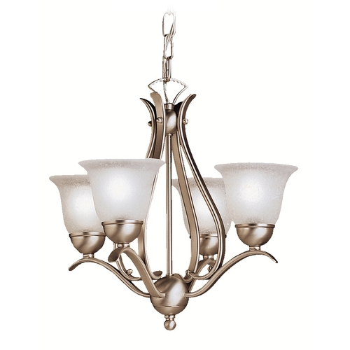 Kichler Lighting Kichler Mini-Chandelier with White Glass in Brushed Nickel Finish 2019NI