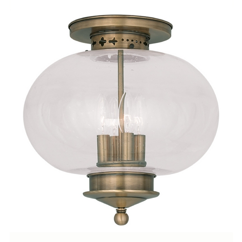 Livex Lighting Livex Lighting Harbor Antique Brass Close To Ceiling Light 5038-01