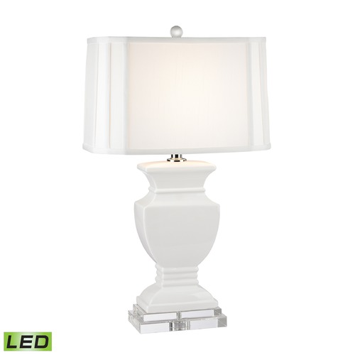 Dimond Lighting Dimond Lighting Gloss White LED Table Lamp with Cut Corner Shade D2634-LED