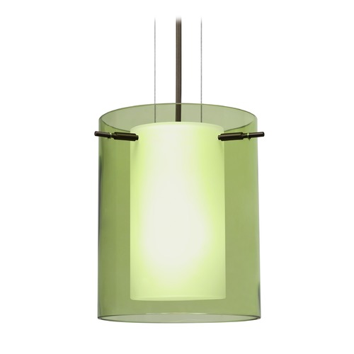 Besa Lighting Besa Lighting Pahu Bronze LED Mini-Pendant Light with Cylindrical Shade 1KG-L00607-LED-BR