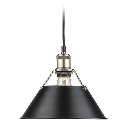Golden Lighting Golden Lighting Orwell Ab Aged Brass Mini-Pendant Light with Conical Shade 3306-M AB-BLK