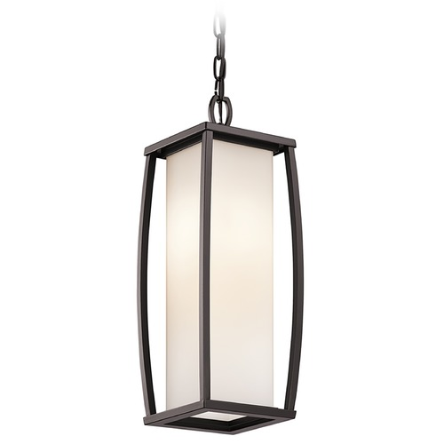 Kichler Lighting Kichler Outdoor Hanging Light with White Glass in Bronze Finish 49341AZ